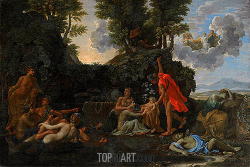 The Infant Bacchus Entrusted to the Nymphs of Nysa, 1657 | Nicolas Poussin | Gemälde Reproduktion