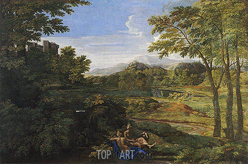 Landscape with Two Nymphs and a Snake, c.1659 | Nicolas Poussin | Gemälde Reproduktion