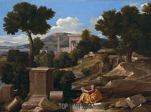 Landscape with Saint John on Patmos, 1640 | Nicolas Poussin | Gemälde Reproduktion