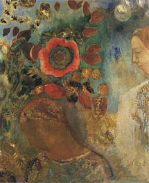 Two Young Girls among the Flowers | Odilon Redon | Painting Reproduction