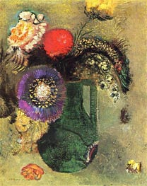 Flowers in Green Vase with Handles | Odilon Redon | Painting Reproduction