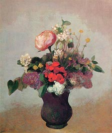 Flowers in a Brown Vase, c.1903/05 by Odilon Redon | Painting Reproduction
