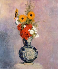 Bouquet of Flowers in a Blue Vase | Odilon Redon | Painting Reproduction