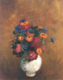 Bouquet of Flowers in a White Vase, Undated by Odilon Redon | Painting Reproduction
