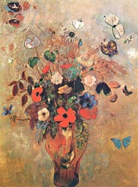 Vase with Flowers and Butterflys | Odilon Redon | Painting Reproduction