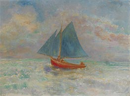 Red Boat with Blue Sail, c.1910 by Odilon Redon | Painting Reproduction