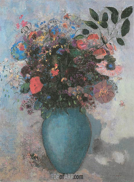 Flowers in a Turquoise Vase, 1910 | Odilon Redon | Gemälde Reproduktion