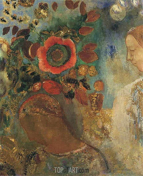 Two Young Girls among the Flowers, 1912 | Odilon Redon | Painting Reproduction