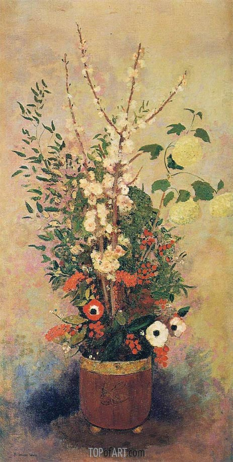 Vase of Flowers with Branches of a Flowering Apple, c.1905/06 | Odilon Redon | Painting Reproduction