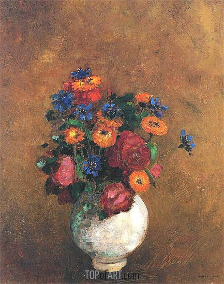 Bouquet of Flowers in a White Vase, Undated | Odilon Redon | Painting Reproduction