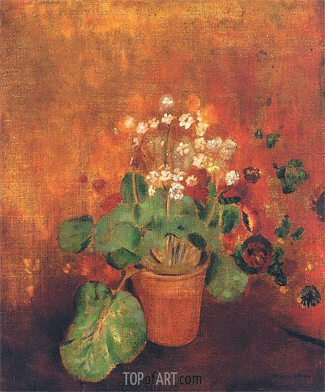 Flowers in a Pot on a Red Background, Undated | Odilon Redon | Painting Reproduction