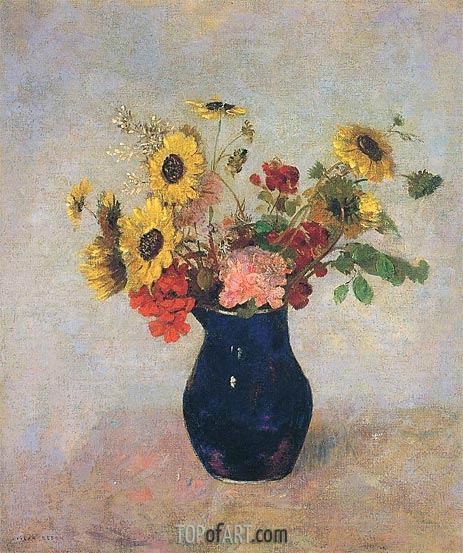 Vase of Flowers, Undated | Odilon Redon | Painting Reproduction