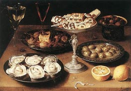 Still-Life with Oysters and Pastries, 1610 von Osias Beert | Gemälde-Reproduktion