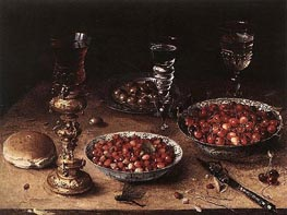 Still-Life with Cherries and Strawberries in China, 1608 von Osias Beert | Gemälde-Reproduktion