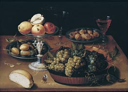 Grapes in a Dish, Apples in a Silver Tazza, Hazelnuts and Medlars on Pewter Plates, Glasses and Bread Roll on a Wooden Table, undated von Osias Beert | Gemälde-Reproduktion