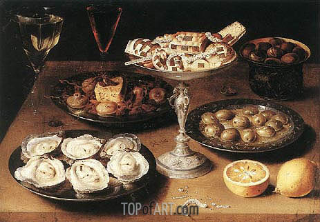 Still-Life with Oysters and Pastries, 1610 | Osias Beert | Painting Reproduction