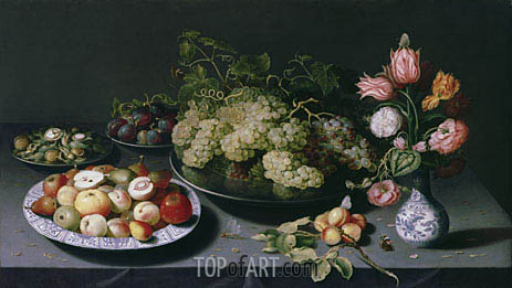 Still Life with Apples, Grapes and a Vase of Flowers, c.1600/20 | Osias Beert | Painting Reproduction