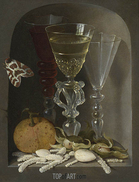 A Still Life of Three Wine Glasses, an Orange, Sweetmeats, Hazelnuts and a Moth in a Stone Niche, undated | Osias Beert | Painting Reproduction