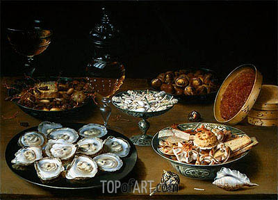 Dishes with Oysters, Fruit and Wine, c.1620/25 | Osias Beert | Painting Reproduction