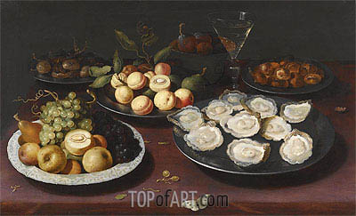 Still Life of Fruit and a Plate of Oysters, Undated | Osias Beert | Painting Reproduction