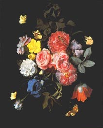Flowers and Butterflies, undated by van Schrieck | Painting Reproduction