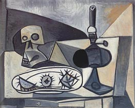 Still Life with Skull, Sea Urchins and Lamp, 1946 von Picasso | Gemälde-Reproduktion