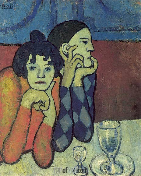 Harlequin and his Girl-Friend (Wandering Gymnasts), 1901 | Picasso | Painting Reproduction