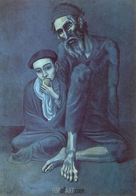 Old Jew with the Boy, 1903 | Picasso | Gemälde Reproduktion