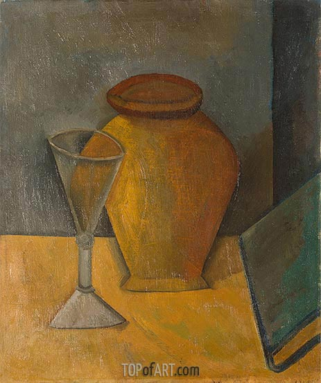 Pot, Glass and Book, 1908 | Picasso | Painting Reproduction
