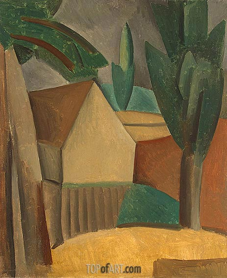 House in a Garden, 1908   Picasso   Painting Reproduction