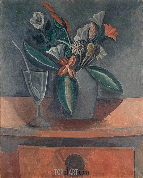 Flowers in a Grey Jar, 1908 | Picasso | Gemälde Reproduktion
