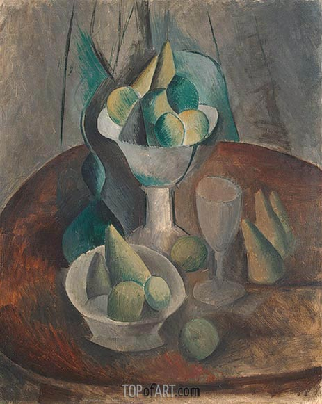 Fruit in a Vase, 1909 | Picasso | Painting Reproduction