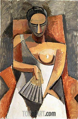 Woman with a Fan (After the Ball), 1907 | Picasso | Painting Reproduction