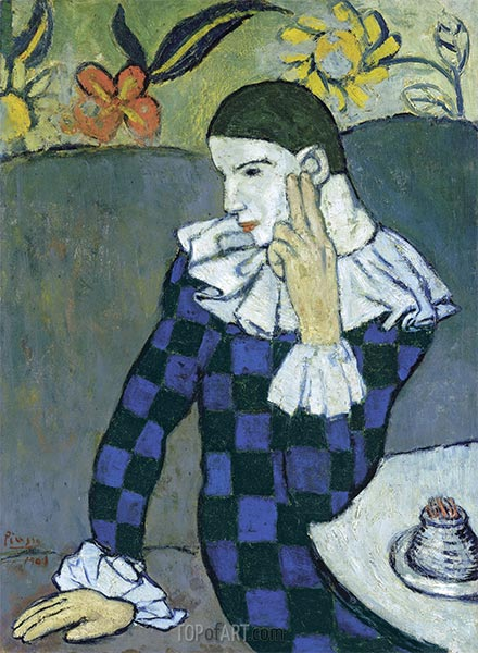 Seated Harlequin, 1901 | Picasso | Painting Reproduction
