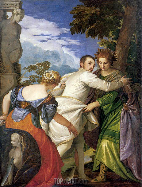 Allegory of Virtue and Vice (Choice of Hercules), c.1580 | Veronese | Painting Reproduction