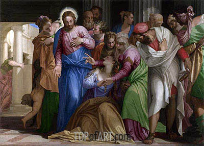 Christ addressing a Kneeling Woman (The Conversion of Mary Magdalene), a.1546 | Veronese | Painting Reproduction