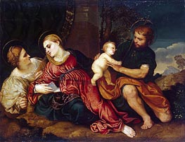 Holy Family with St Catherine, c.1520/22 by Paris Bordone | Painting Reproduction