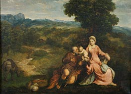 Rest on the flight into Egypt, c.1520/30 by Paris Bordone | Painting Reproduction