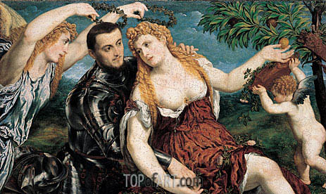 Allegory with Lovers, 1550 | Paris Bordone | Painting Reproduction