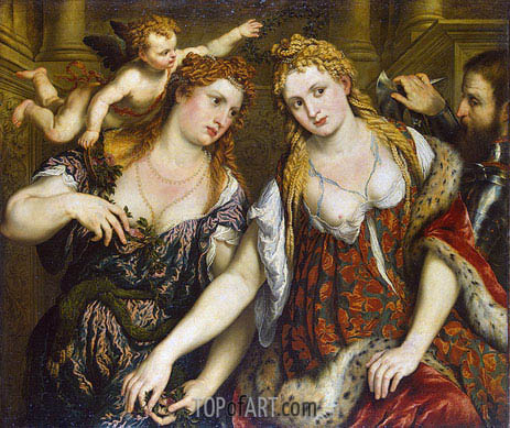 Venus, Flora, Mars and Cupid (Allegory), c.1550 | Paris Bordone | Painting Reproduction