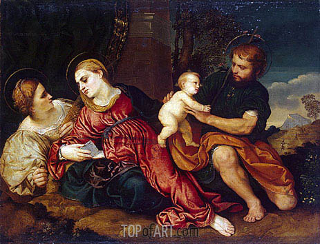 Holy Family with St Catherine, c.1520/22 | Paris Bordone | Painting Reproduction