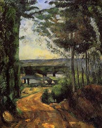 Road, Trees and Lake, 1880 by Cezanne | Painting Reproduction