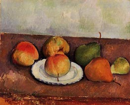 Still Life - Plate and Fruit, c.1888/90 by Cezanne | Painting Reproduction