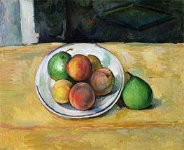 Strill Life with Peaches and Two Green Pears, c.1883/87 by Cezanne | Painting Reproduction