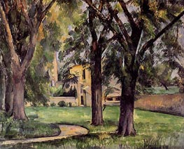 Chestnut Tree and Farm at Jas du Bouffan, c.1885 by Cezanne | Painting Reproduction