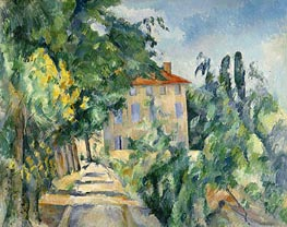 House with the Red Roof at Jas de Bouffan, c.1885/86 von Cezanne | Gemälde-Reproduktion