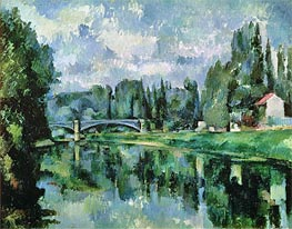 The Banks of the Marne at Creteil, c.1888 by Cezanne | Painting Reproduction
