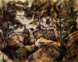 Rocks at Fountainebleau, c.1893 by Cezanne | Painting Reproduction