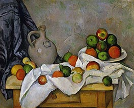 Curtain, Jug and Fruit Bowl | Cezanne | Painting Reproduction