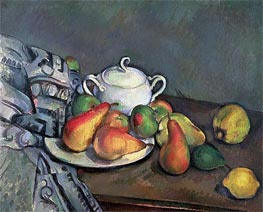 Sugarbowl, Pears and Tablecloth | Cezanne | Painting Reproduction